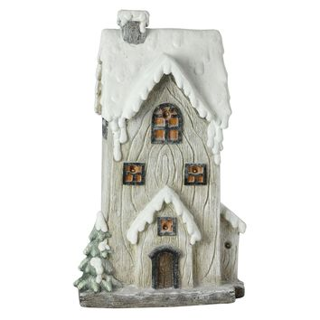 """19"""" LED Lighted Battery Operated Rustic Glittered 2-Story House Christmas Decoration"""