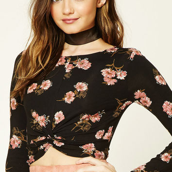 Floral Twist-Front Crop Top - Women - Tops - 2000195841 - Forever 21 Canada English