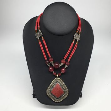 Turkmen Necklace Afghan Antique Tribal Fashion Multi Strand Beaded Necklace S133