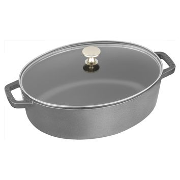 Staub Cast Iron 4.25-qt Shallow Wide Oval Cocotte with Glass Lid