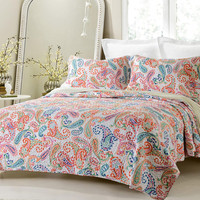 Paisley Multi Color Printed Quilt Set Style # 1004 - Cherry Hill Collection
