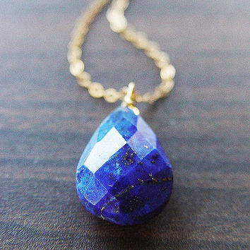 Navy Lapis Gold Necklace