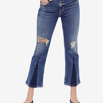 Free People Ripped Colorblocked Cropped Jeans | macys.com
