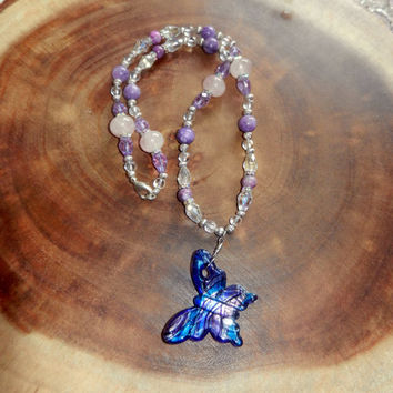 Butterfly Pendant Necklace, Beaded Purple Necklace, Butterfly Necklace, Spring Necklace, Grandmother Gift