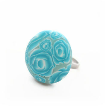 Turquoise Rose Ring - Polymer Clay Ring - Turquoise Blue - Millefiori Rose Flowers - Large 25mm - Bespoke Design