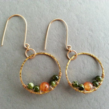 Hammered Gold Hoops; Wire Wrapped Green and Orange Earrings