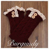 Lace Motif Button Accent Burgundy Boot Toppers, Boot Cuffs, Leg Warmers, Women's Accessories