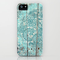Teal & Aqua Botanical Doodle on Weathered Wood iPhone & iPod Case by Micklyn