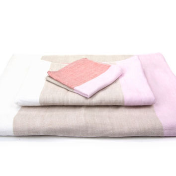 Tri Colour Chambray Towel - Pink