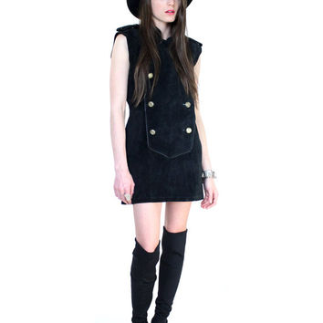 Vintage 80s Black Leather Military Mini Dress S