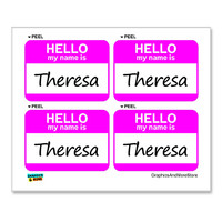 Theresa Hello My Name Is - Sheet of 4 Stickers