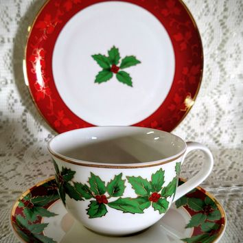 3 Piece 24k Gold Decorated Bone China Holy Berry Teacup, Saucer and Plate - Only 2 Available!