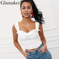 Glamaker Ruffle summer camisole tank top Women shirt white sexy crop top tees Fitness casual stretwear beach cami top female