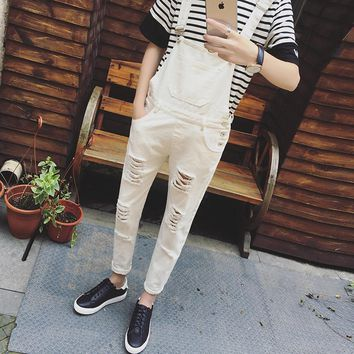 2017 Mens Bib Overalls Black White Autumn Spring Ripped Skinny Overalls Men One Piece Jumpsuits With Holes