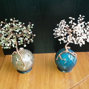 Handmade Tree of life on glass mosaic sphere with copper wire and rubber base