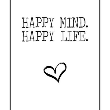 Happy mind, Happy Life,  Love Print, Heart Printable, Vintage Poster, Typography Poster, Typewriter Poster, Home Decor