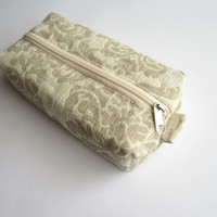Linen damask ox pouch zippered, Boxy pouch, Cosmetic pouch, Make Up Pouch, Toiletery bag, Project bag, Pencil case, Pencil box pouch, bag