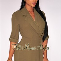 Olive Trench Romper