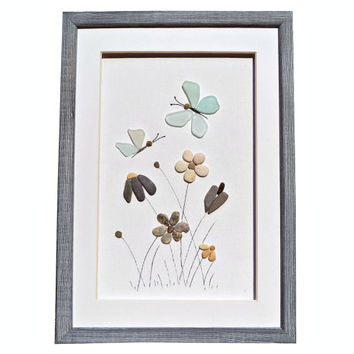 Genuine sea glass butterflies and pebble flowers, Pebble art home décor, Seaglass art new home or house warming gift, Unique framed wall art