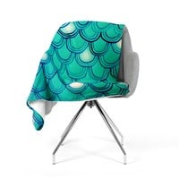 "Theresa Giolzetti ""Mermaid Tail"" Teal Blue Fleece Throw Blanket"
