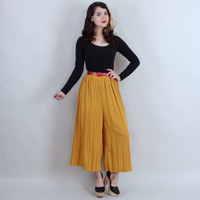 1980s Mustard Polka Dot PALAZZO PANTS | Vintage 80s Wide Leg Accordion Pleat High Waisted Trousers | xs small