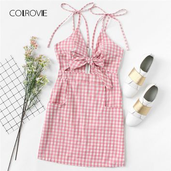 COLROVIE Tie Shoulder Knot Front Gingham Beach Dress 2018 New Pink Sleeveless Vacation Summer Dress Fit and Flare Women Dress