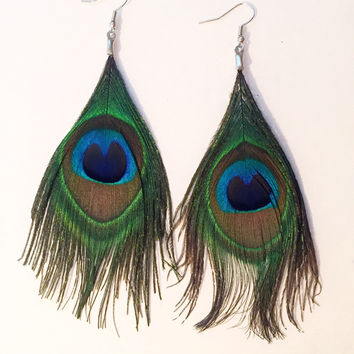 Peacock Feather Earrings #H1005