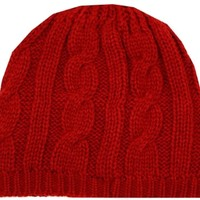 Sakkas EH190NB - Cable Knitted Solid Color Fashion Winter Beanie / Cap / Hat - Red/One Size