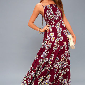Garden Party Burgundy Floral Print Maxi Dress