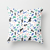 Lainie - 80s, 90s, revival, memphis, design, bright, print, grid, black and white Throw Pillow by CharlotteWinter