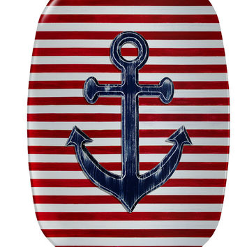 Nautical Serving Platter with navy blue anchor on red and white striped background