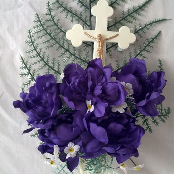 Jesus on Cross with Purple Peonies