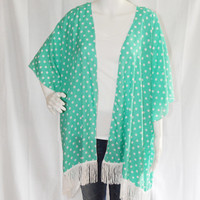 Polka Dot Kimono Cardigan with Fringe/ Modern Kimono Jacket/ Turquoise Lightweight Wrap/ Boho Clothing/ Layering Cardigan/  Beach Cover up