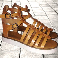 Greek Tan leather sandals, women sandals, gladiator sandals, authentic handmade sandals, women shoes, stylish sandals, white block sole