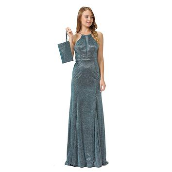 Teal Long Prom Dress with Sheer Cut-Out Bodice