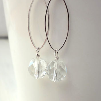 Sparkly silver earrings oval faceted glass beads dangle minimalist earrings elegant