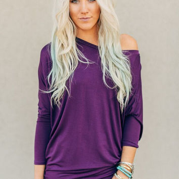 Boho Dolman Tee in Purple Plum