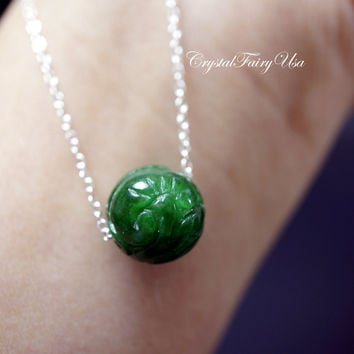 Emerald Jade Necklace - Sterling Silver Green Jade Necklace - Jade Choker - Jade Jewelry
