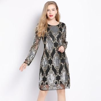 85f9ad6fef5 2018 Luxury Designer Women Sexy See-Though Mesh Vintage Shift Dr