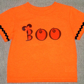 Kids Halloween shirt , Minnie Mouse BOO applique , girl toddler , baby tshirt , size 12m 18m