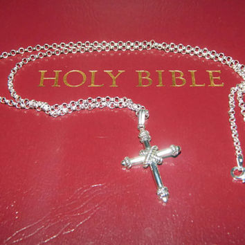 Sterling Silver Cross Necklace, Mens Cross Necklace,20'' Chain
