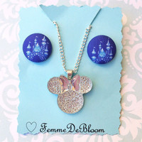 "Handmade ""Minnie Diamond Sparkle"" Disney Inspired Minnie Mouse Diamond Celebration Necklace and Navy Sparkle Fabric Button Earrings"