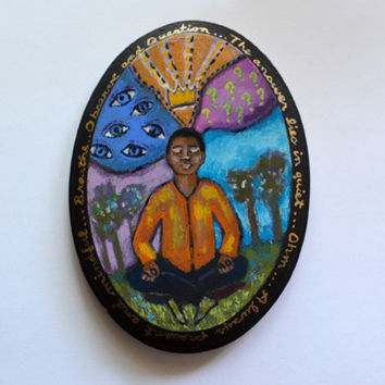OOAK Hand Painted Oval Wooden Plaque of Man in by RenaissanceDays