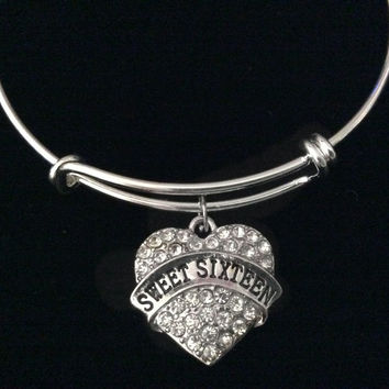 Crystal Heart Sweet 16 Silver Expandable Charm Bracelet Adjustable Bangle Gift Happy Birthday