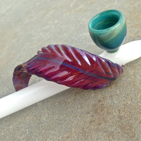 Native Medicine: White Glass Peace Pipe with Purple Feather and Turquoise Bowl