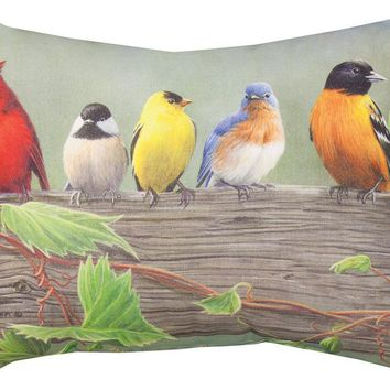 Birds On A Fence Printed Fabric Indoor/Outdoor Weather Resistant Pillows (Set of 2)