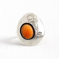 Orange Shell Ring - Sterling Silver Rose Statement - 1960s Size 7 Retro Southwestern Organic Gemstone Sea Nature Inspired Floral Jewelry