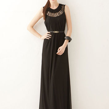 Sleeveless Cutout A-Line Pleated Maxi Dress