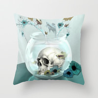 Looking glass skull Throw Pillow by Kristy Patterson Design