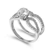 Sterling Silver CZ 1 carat Brilliant Round Cut Pave Solitaire Wedding Ring Set 5-9